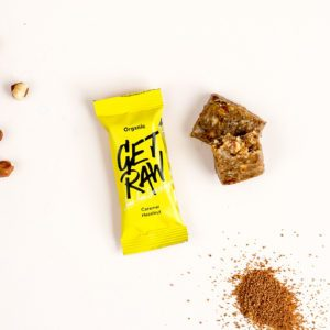 Get raw hazelnut and caramel
